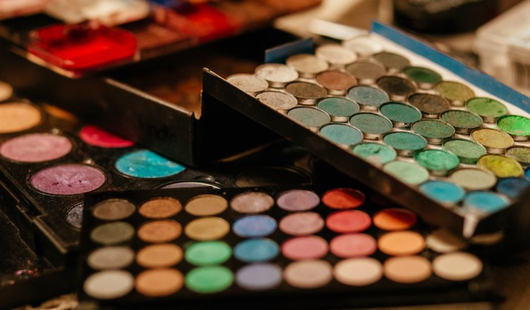 colors of makeup in a case