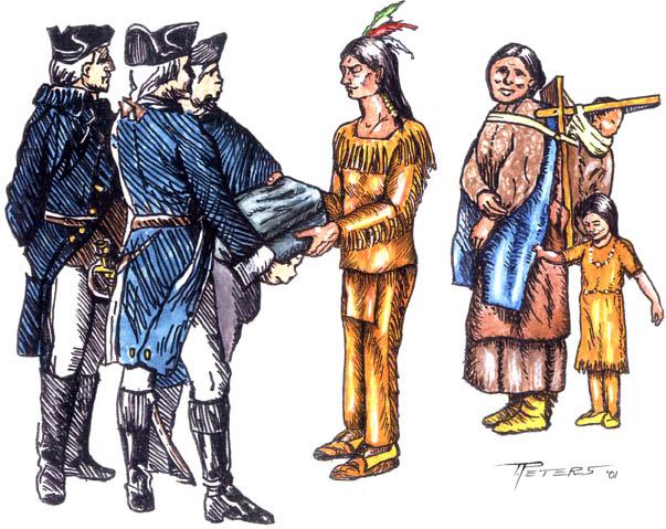 Británicos regalando mantas infectadas (autor: Peters)