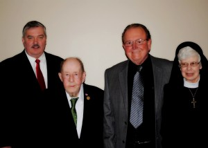 The following members of Nativity High School's Golden Cross Society were inducted at the Century Benefit held at the Schuylkill Country Club on Saturday, April 11, 2015. Inductees include: photo (l to r) Mayor James Muldowney '76, Mr. Jeremiah Brennan PCHS '45, Mr. John Koch '66 and Sister Catherine Therese Brennan '62, representing the Order of the Sisters of St. Joseph.