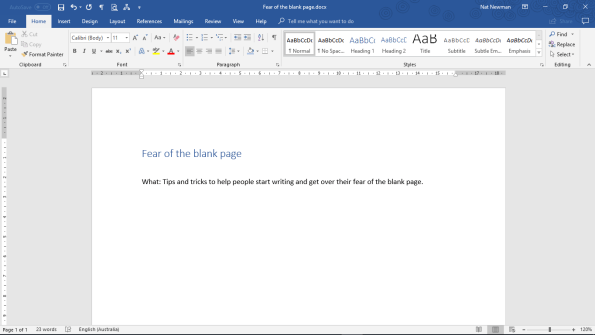 overcoming fear of the blank page - what is the goal of your article