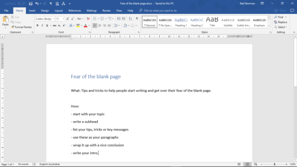 overcoming fear of the blank page - list your tips