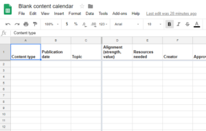 link to content schedule in Google Sheets