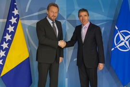 Left to right: the Chairman of the Presidency of Bosnia and Herzegovina, Bakir Izetbegovic and NATO Secretary General Anders Fogh Rasmussen