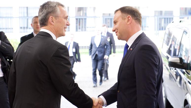 NATO Secretary General Jens Stoltenberg welcomes the President of Poland, Andrzej Duda at NATO headquarters