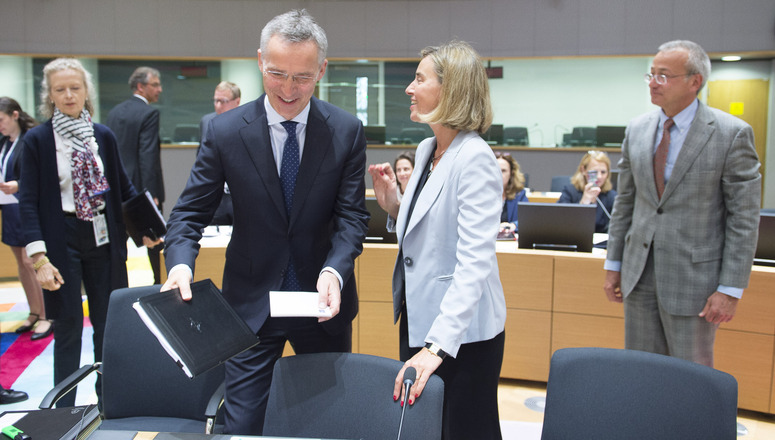 NATO Secretary General Jens Stoltenberg and Federica Mogherini, High Representative of the European Union for Foreign Affairs and Security Policy