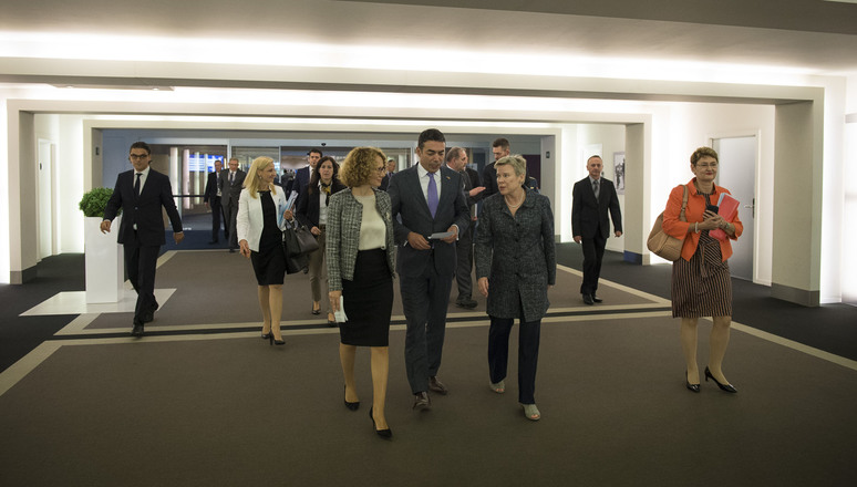 The Deputy Prime Minister and Minister of Defence, Radmila Šekerinska of the former Yugoslav Republic of Macedonia(1) together with the Minister of Foreign Affairs, Nikola Dimitrov