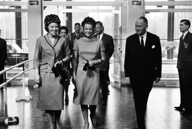 The heiress to the throne, Princess Beatrix (left), and Princess Irene (right) are hosted by NATO Secretary General Dirk Stikker at NATO Headquarters in Paris, France, in September 1963.
