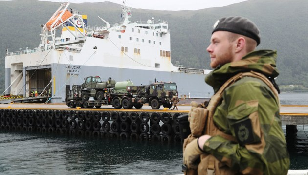 NATO   News  First load of military equipment for Exercise Trident     NATO   News  First load of military equipment for Exercise Trident Juncture  2018 arrives in Norway  24 Aug  2018