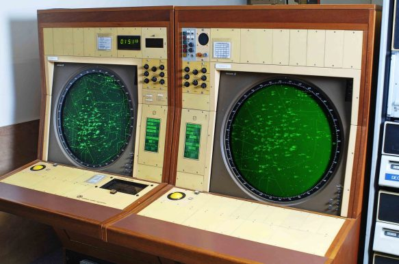 A PDP11 radar station computer donated by National Air Traffic Services and originally in use at West Drayton. Now restored to working condition at The National Museum of Computing, Bletchley Park, December 2008. Photo for TNMOC by John Robertson.