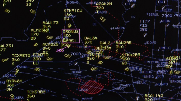 A still from the radar screen clearly showing the UAS - CRONUS - operating in the same airspace as conventional aircraft.