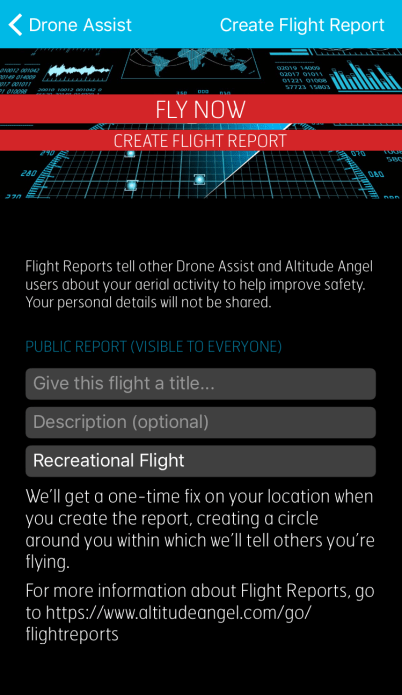 The 'Fly Now' feature lets users inform others of their intention to fly.