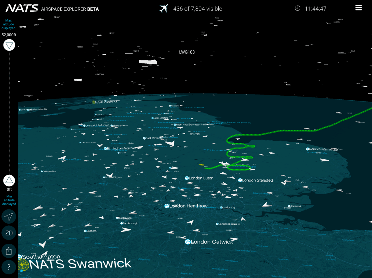 See airport arrivals and departures in 3D