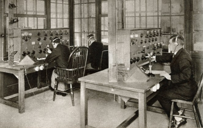 The wireless transmission room at Croydon Aerodrome, London, England which was re-opened in 1928