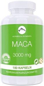 Alparella Elements – Maca 3000   fabriqué en Allemagne   180 Capsules contenant 3000mg d'extrait de racine de Maca   Stimule Libido & Performance physique   Aide à favoriser la croissance musculaire & Anti-stress   100% Satisfait ou remboursé
