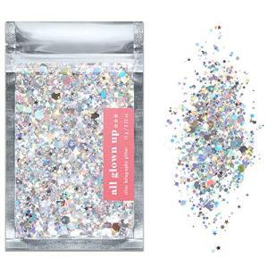 Paillettes Cosmétique Chunky Glitter Holographique Argenté (15g) – Idéal pour les Festivals, pour le Visage, le Corps, les Cheveux et les Ongles – par All Glown Up