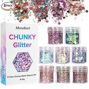 Chunky Glitter, Glitter Ongles, paillettes Sequin, paillettes Sequin Chunky Glitter Pour Ongles visage yeux Lèvres cheveux Corps, maquillage Glitter Paillette Music Festival Masquerade–8boîtes * 10ml