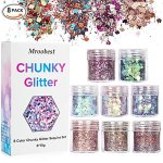 Chunky Glitter, Glitter Ongles, paillettes Sequin, paillettes Sequin Chunky Glitter Pour Ongles visage yeux Lèvres cheveux Corps, maquillage Glitter Paillette Music Festival Masquerade – 8 boîtes * 10 ml