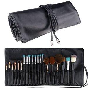 travelmall Pinceau de maquillage étui à support sac cosmétique organisateur de voyage portable 18poches Maquillage Pinceaux Étui en cuir
