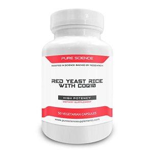 Pure Science Levure de riz rouge 600 mg et CoQ10 100 mg – 50 capsules végétariennes