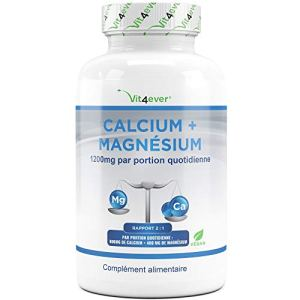 Calcium + Magnésium – 360 comprimés – 1200 mg par portion quotidienne – Complexe de calcium + magnésium 2: 1 – Végan – Testé en laboratoire – Muscles + Sang + nerfs + Os + dents – Vit4ever