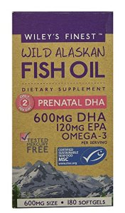Wiley's Finest – Wild Alaskan Fish Oil: Prenatal DHA 600mg DHA – Omega 3 Supplement – 180 Softgels