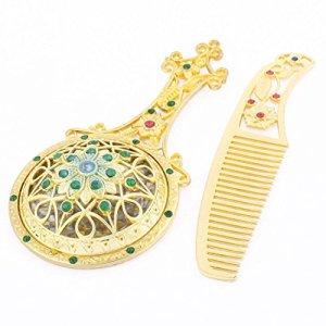 En forme de fleur Tone Faux strass Décor de poche Miroir Peigne d'or