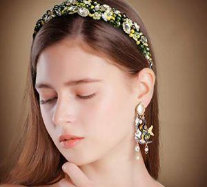 WJP Accessoires de Cheveux de Fleur Faits Main Vintage européens et américains, Bandeau antidérapant, Pince à Cheveux Tiare,1,Cm