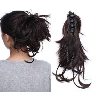 (12″=25cm) Postiche Chignon a Griffe Extension Cheveux [Postiche Flexible Tresse] [Marron Foncé] Touche Soyeuse