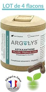 Argolys® – Astaxanthine, Myrtille, Pépins de raisin, beta carotène, vitamines et minéraux (4 flacons)