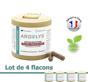 Lot de 4 ● Argolys® Protection Oculaire, les compléments alimentaires Vision créés par S&B Provence – Astaxanthine, Myrtille, Pépins de raisin, beta carotène, vitamines et minéraux