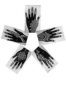 Lot de 5 droite partie supérieure de Vu à la main en vogue simplement indien d'Arabie Tattoo Stickers repositionnables Laminau Pochoirs