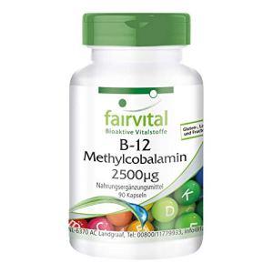 B12 Méthylcobalamine 2500mcg – Complexe actif de Vitamine B12 – Végan – 90 gélules ! – Boite pour 3 mois !
