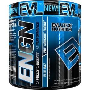 Evlution Nutrition ENGN, Supplément Pre Workout, Emballage de 30 Doses, Goût Framboise Bleue