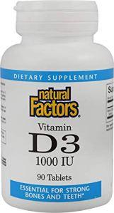 Natural Factors – 90 Comprimés Vitamines D3, 90 Tabs 1000 IUá