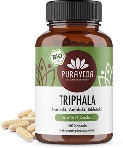 Triphala Bio (150 Capsules) – 500 mg par capsule – 75 jours dose – dose élevée Biotriphala – emballé et contrôlé en Allemagne (DE-ÖKO-005) – 100% vegan – Meilleur rapport qualité-prix
