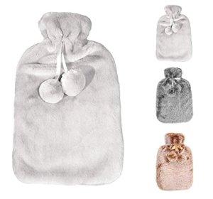 Bouillotte avec une couverture épaisse et luxueuse | 2 litres de capacité |Bouteille d'eau chaude douce, plus doux que le cachemire | Exempt de polluants | par Soft & Cosy (Light Silver Grey)