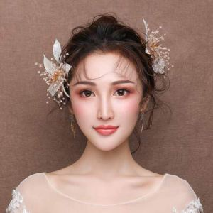 don997gfoh08yewi Épingle à Cheveux coréenne avec Feuilles d'or Super Fairy Gold Leaf Side Clips Senmei Beauty Coiffe Mariage Accessoires Peut être SunnyMuen : Paire de Clips + Oreille