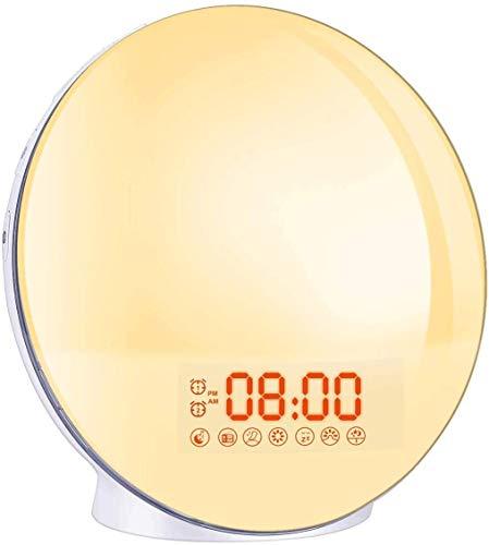 Lampes de Réveil,Cadrim FM Radio Réveil Horloge Dual Alarme,7 Couleurs,8 Type Sonneries,Fonction Snooze,Simulation Lever/Coucher du Soleil,Lumière Réglable avec Chargeur