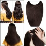 Extension Cheveux Naturel a Enfiler Fil Invisible Transparent Remy Cheveux Humain Sans Clips (#2 CHATAIN FONCE, 18″/45cm-65g)