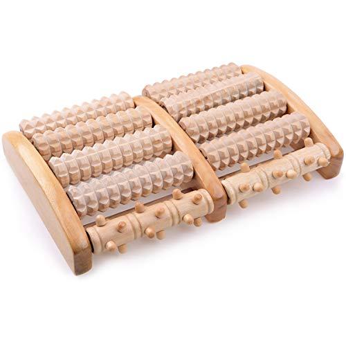 IREGRO Double Rouleau de Massage des Pieds en Bois, Soulager la Fasciite Plantaire, le Talon, la Douleur à la Voûte Plantaire, Relaxation par Acupression Shiatsu, Rouleau pour Pied en Haute Qualité