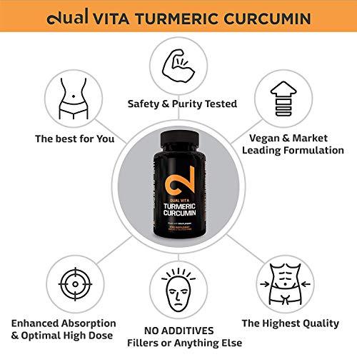 DUAL VITA Turmeric Curcumin | Curcumine Curcuma Pour Hommes et Femmes | Organique | 100% Naturel et Végétarien | 1350mg par Dose | Laboratoire Certifié | Sans Additifs| 100 Capsules Végétaliennes |UE