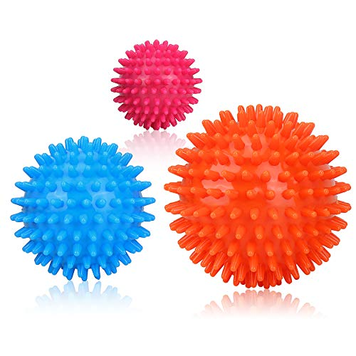 GUBOOM Balle de Mmassage, Boule Hérisson, 3Pcs Différentes Boule de massage Set, Balle de Fascias, Spikey Ball Reflexologie, Tigger Point pour Plantar Fasciitis, Massage Les pieds, Dos, épaules, Bras