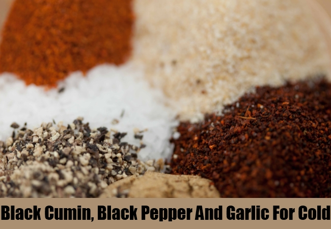 Black Cumin, Black Pepper And Garlic For Cold