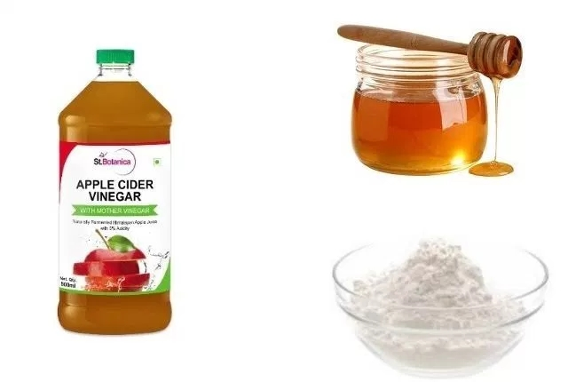 apple cider vinegar, baking soda and honey