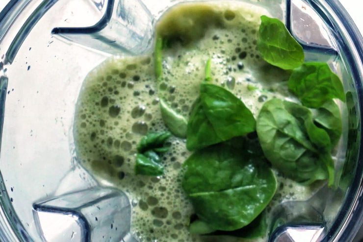 Dandelion kombucha smoothie with spinach, barley grass and apple - a herb fairy full of power - the mix