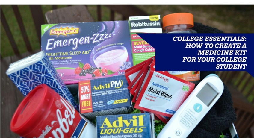 """College Essentials"" ""Advil Liqui-Gels"" ""Medicine Kit"" ""Thermometer"" ""Centrum MultiGummy"" ""Emergen-Zzzz"" ""Robitussin CF Severe Multi-Sympton Cough Cold+Flu"""