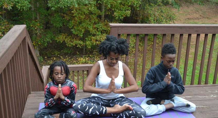 """Yoga"" ""Yoga Family Affair"" ""Black Family Yoga"" ""Naturalbabydol"""