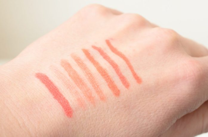 Natural lipstick swatches