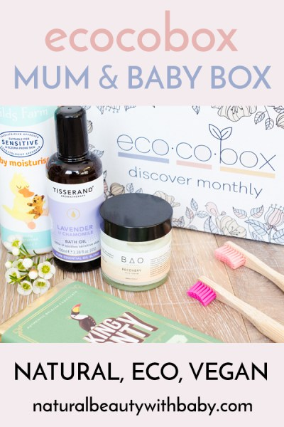 My review of ecocobox, the first subscription box for mum, baby and planet. This natural, eco, and vegan box is perfect for health and earth conscious mamas! Click through for my exclusive discount code! #subscriptionbox #beautybox #naturalbeautybox