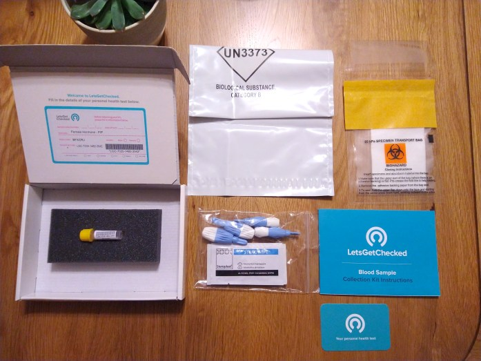 The contents of my LetsGetChecked Female Hormone Test Kit.